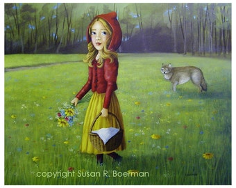 Red Riding Hood with A Basket of Flowers in a Meadow and the Wolf in the Background 8 x 10 Print