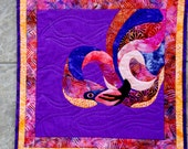 Wall Art Quilt Flamingo Batik Applique Francheska Coral Pink Purple Orange