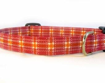 Collar Dog Fabric Pink Orange Plaid