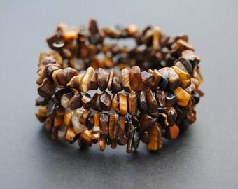 Tigers Eye Memory Wire Bracelet