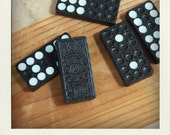 Unique Vintage Full Double Set of Wooden Textured Embossed Dominoes