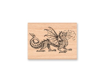 DRAGON RUBBER STAMP~Scandinavian Viking Dragon Stamp~Mythical Creature~Fire Dragon and Wings~Wood mounted rubber stamp (30-28)
