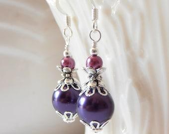 Purple Pearl Earrings, Bridesmaid Jewelry Set, Pearl Dangles, Dark Purple and Plum Wedding Jewelry,  Bridesmaid Gift, Beaded Earings, Silver
