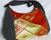 Japanese Obi Recycled Crossbody Bag -  Diamond pattern / Brick