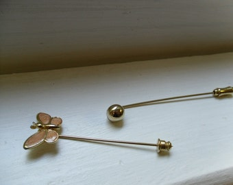 Vintage Hatpin Stick Pin Gold Tone With Butterfly and Gold Ball-Set of Two-Gold Stick Pins