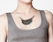 Lace necklace - Taurus - Black lace with silver chains and studs