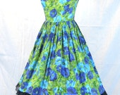 Vintage Blue Green Floral Pinup Dress - Size Small Bridesmaid Wedding