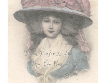 Lovely Girl in HUGE HAT - Beautiful Vintage Hand Tinted Illustrated Postcard