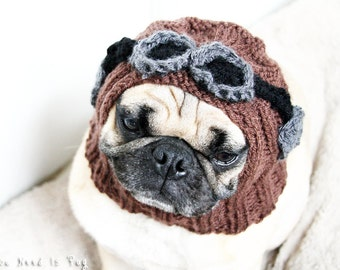 Aviator Dog Hat - Pug Hat - Aviator Costume - Dog Clothing - Pet Accessories - Dog Balaclava - Dog Beanie - Gift for Pet Parents