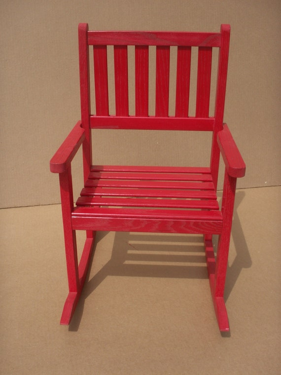 Child's solid red oak rocking chair- red