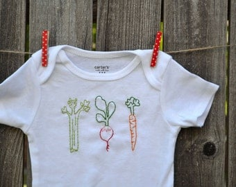 Veggie Baby Bodysuit Hand Embroidered farmers market