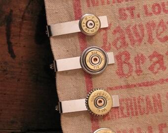 Men's Accessories - Bullet Jewelry - Shotgun Casing Jewelry - Men's Silver Tie Bar / Tie Clip / Tie Tack - Groomsmen Gifts
