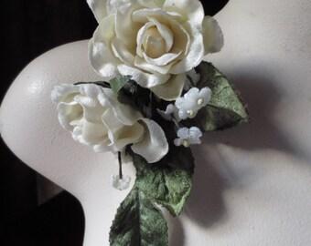 Petit Ivory Velvet Rose Spray for Bridal, Millinery or Floral Supply MF 130