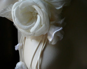 Ivory Silk Roses with Hanging Blossoms for Bridal, Derby, Ascot, Bouquets, Sashes, Costumes, Fascinators