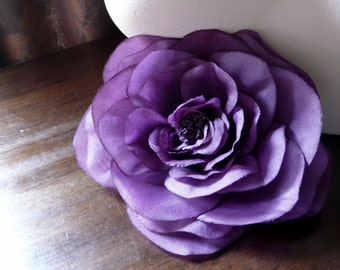 Silk Rose Camellia in Royal Purple for Bridal, Hats, Corsages MF 127rp