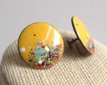 Mid Century Modernist Copper Enameled Screw Back Earrings