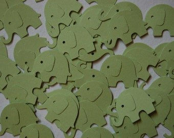 Sage Green Elephant Punch Cut Outs Confetti -- Set of 50 elephants -- Ready to Ship