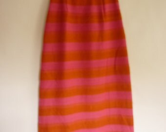 MOD Maxi Skirt S/M Dayglo Stripes in Hot Pink and Orange Hand-Woven Wool / Cotton