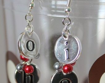 OHIO State Earrings with Red and Silver Beads