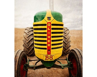 farm tractor photography, farm photography / oliver tractor, farm equipment, rustic, yellow, green, red / 8x12 fine art photograph