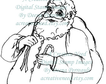 Santa INSTANT DOWNLOAD Digital Stamp, Image For Cardmaking, Paper Crafts, Tags, Scrapbooking