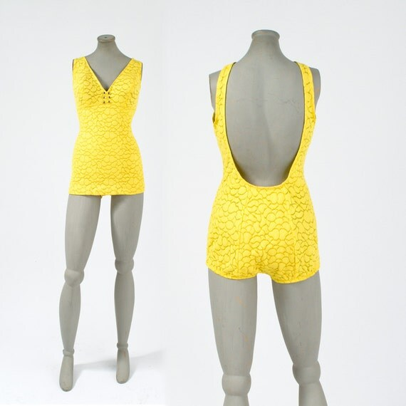 1960's Yellow Catalina Bathing Suit: Vintage One Piece Suit Beach Pinup Bright Yellow Summer Resort