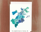 The Neighborhoods of Boston in Blues: Boxed Notes / Tote Bag / Notebook / Art Print