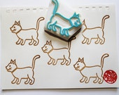 cat rubber stamp. kitten hand carved rubber stamp. woodland animal stamp. cat lovers. diy birthday card making. scrapbooking. gift wrapping
