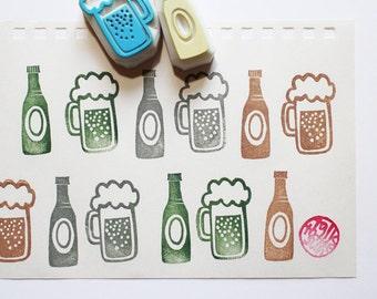 beer rubber stamp. beer glass stamp. beer bottle stamp. drink hand carved stamp. summer father's day crafts. diy card making. choose option