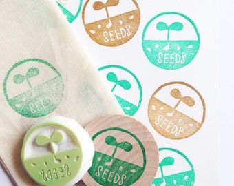 grow seeds stamp. gardening hand carved rubber stamp. sprout stamp. diy wedding seed packet envelope. flavor bags. gift wraps. spring crafts