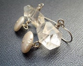 Quartz and Pearl Earrings with Sterling Silver
