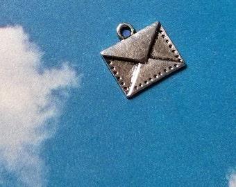 SALE, 10 envelope charms, silver tone, 15mm