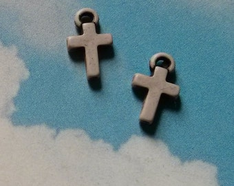 SALE, 20 tiny cross charms, stone- colored acrylic, 11mm