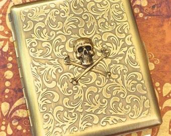 Brass Skull Cigarette Case Skull & Crossbones Vintage Inspired Antiqued Rustic Brass Gothic Victorian Steampunk Style Skull Case