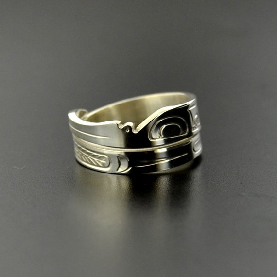 Northwest Coast Native American Wrap Ring Sterling Silver First Nations Band