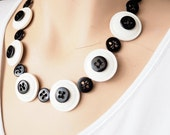 Black and white button necklace handmade with reclaimed recycled upcycled buttons.