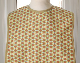 Coco Dots - Reversible Fabric Adult Bib - cool print with solid green lining - trimmed with green