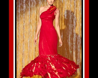 Stunning  Mermaid Gown -Designer Sewing Pattern - Sexy One Shoulder -Dramatic Cascading Flounces -Side Fabric Flower -Uncut- Size 4-12