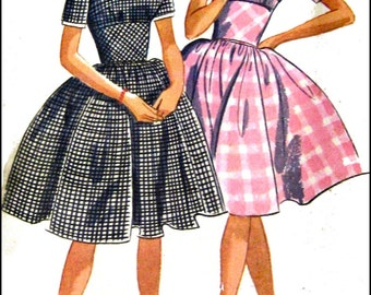 Vintage 1962- MIDRIFF TWIRL DRESS-Sewing Pattern-Two Styles-Three-Gore Twirl Skirt-Built Up Midriff Section-Short Sleeves-Uncut-Size 9-Rare