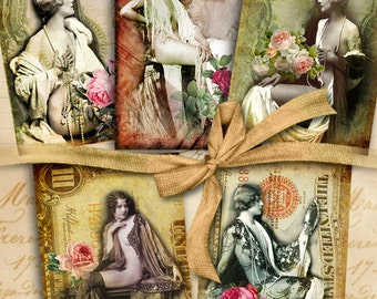 Printable Gift Tags BEAUTY AND MONEY Digital Collage Sheet 2.5x3.5 inch size Downloadable Jewelry Holders Vintage decoupage Paper ArtCult