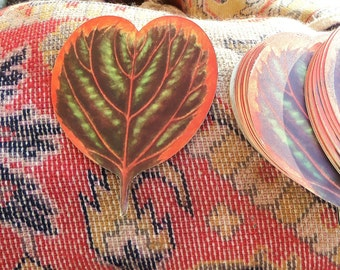 Vintage Oilcloth Handmade Millinery Flower Craft Supply Fabric Leaves Orange Tropical Heart Shaped