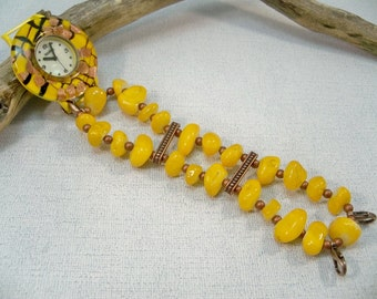 Yellow Watch, Stretch Band and Watch, MOP Watch Face, Copper Beaded Watch Band, Gift for Her, Stretch Band Watch, Watch Bracelet