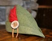 Newborn Green Wool Felt Peter Pan, Huntsmen, Woodland Hat, Robin Hood