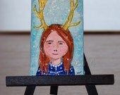 Deer Girl, Original Mini Painting, Art, Room Decor
