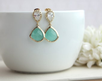 Mint Glass Pear Gold Cubic Zirconia Ear Post Earrings. Wedding Jewelry, Bridal Earring. Green Glass. Bridesmaid Gift. Mint and Gold Wedding.