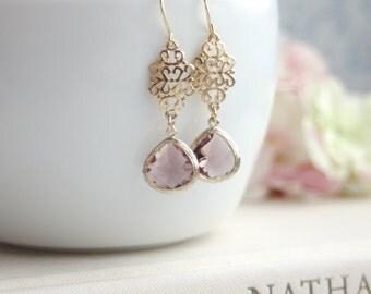 Plum Glass Filigree Gold Dangle Drop Earrings, Bridesmaid Gift,  Plum and Gold Wedding. Bridal Earrings. Plum Purple Maroon Wedding, Dainty