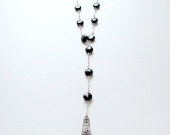 Sterling Silver Extra Long Rosary Style Red Garnet Necklace - Boho Fashion