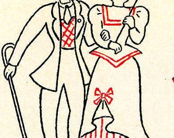 1551 Naughty Nineties 1920s Gay Nineties for Hand Embroidery Dish Towels 1940s