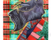 Dr. Groovy - scottish terrier portrait ( original watercolour painting)