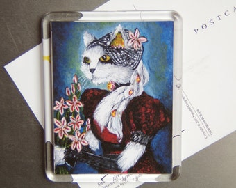 White Cat Magnet, Cat Wearing Regency Dress, Asphodel Flower Fridge Magnet